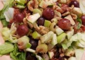 Grilled chicken, roasted walnuts, apples, grapes on a bed of lettuce with a side of walnut raspberry dressing.